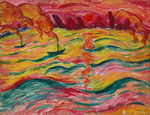 名画絵画のプリント作品販売 Walter OpheyのRiver landscape with boats and red sun. Ca 1913