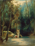 名画絵画のプリント作品販売 Carl BlechenのBathing Women in the Parc of Terni. Before 1837