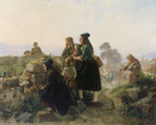名画絵画のプリント作品販売 Carl Wilhelm HubnerのFarewell off German Emigrants on the Cemetery. 1847
