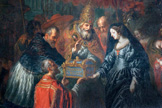 名画絵画のプリント作品販売 ヨアヒム・フォン・ザンドラルト Joachim von SandrartのPope Urban VIII presenting the relics of Saint Julian to the archduchess Claudia of Austria.