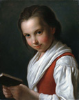 名画絵画のプリント作品販売 ピエトロ・ロータリ Pietro Antonio RotariのA Young Girl, Half Length, In A Red Vest And White Blouse Holding A Book.