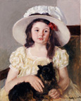名画絵画のプリント作品販売 メアリー・カサット Mary Stevenson CassattのFrancoise holding a little black dog. About 1908