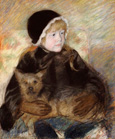 名画絵画のプリント作品販売 メアリー・カサット Mary Stevenson CassattのElsie Cassatt holding a big dog. About 1880