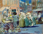 名画絵画のプリント作品販売 ジョージ・ルークス George Benjamin LuksのSpring Morning, Houston and Division Streets, New York. 1922