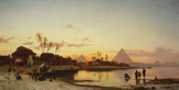 名画絵画のプリント作品販売 Hermann David Salomon CorrodiのSunset on the Nile, Cairo.
