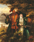 名画絵画のプリント作品販売 ウィリアム・パウエル・フリス William Powell FrithのHenry VIII and Anne Boleyn deer-shooting in Windsor Forest.