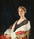 名画絵画のプリント作品販売 Sir William OrpenのPortrait of Nancy Oswald Smith, seated half length, in a Red fur-lined coat. 1915