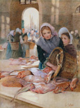 名画絵画のプリント作品販売 Hector CaffieriのWomen in the Fish Market, Boulogne (?).