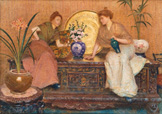 名画絵画のプリント作品販売 Hector CaffieriのTwo Ladies Sitting on a Chest by a Cairo Ware Tray and a Vase of Flowers.