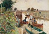 名画絵画のプリント作品販売 Hector CaffieriのBoaters in a Lock on the Thames.