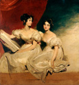 名画絵画のプリント作品販売 トーマス・ローレンス Sir Thomas LawrenceのA Double Portrait of the Fullerton Sisters in White Dresses.