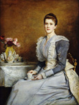 名画絵画のプリント作品販売 ジョン・エヴァレット・ミレー Sir John Everett MillaisのPortrait of Mrs. Joseph Chamberlain, seated three-quarter length at a tea-table. 1891