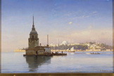 名画絵画のプリント作品販売 カール・ヌーマン Carl NeumannのLeander's Tower (the Maiden's Tower) with Constantinople Beyond. 1877