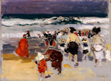 名画絵画のプリント作品販売 Joaquin SorollaのOn the beach, Biarritz. 1906
