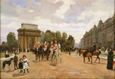 名画絵画のプリント作品販売 Filippo BarattiのThe Life Guards Passing Hyde Park Corner, London. Ca. 1886