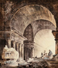 名画絵画のプリント作品販売 ユベール・ロベール Hubert RobertのA Great Cross-Vaulted Building, with Women and Children and a Dog by Broken Columns.