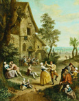 名画絵画のプリント作品販売 Louis Joseph WatteauのPeasants Dancing and Merry-Making Before a Tavern, a Walled Town Beyond.
