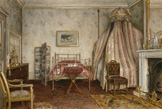名画絵画のプリント作品販売 ジョージ・グッドウィン・キルバーン George Goodwin KilburneのView of the Bedroom where Napoleon III died, Camden Place, Chislehurst, Kent. 1873