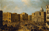 名画絵画のプリント作品販売 Antonio JoliのSan Ferdinando, Naples, at Carnival Time with the Royal Carriage Approaching the Palazzo Reale.