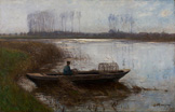 名画絵画のプリント作品販売 Helmuth LiesegangのOxbow Lake at the Lower Rhine. 1899