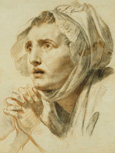 名画絵画のプリント作品販売 ジャン=バティスト・グルーズ Jean-Baptiste GreuzeのPortrait of a Woman, Bust Length, in a Bonnet, with her Hands Clasped.