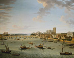 名画絵画のプリント作品販売 Antonio JoliのThe Thames from the Terrace of Somerset House Looking Towards Westminster. (This picture can be dated to 1750 when Westminster bridge was completed and the artist left London.)