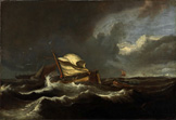 名画絵画のプリント作品販売 Ludolf BakhuizenのBoats in a stormy sea. Around 1670
