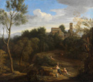名画絵画のプリント作品販売 ガスパール・デュゲ Gaspard DughetのItalian Landscape. Last quarter of the 17th century