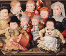 名画絵画のプリント作品販売 Ludger Tom Ring the YoungerのGroup Portrait of Children. 1565