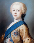 名画絵画のプリント作品販売 ロザルバ・カッリエーラ Rosalba CarrieraのPortrait of Prince Charles Edward Stuart, bust-length, in profile to the left.