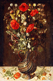 名画絵画のプリント作品販売 Ludger Tom Ring the YoungerのPoppies, Buttercups, Daisies, Cornflowers, Thistles and other Wild Flowers in a facon de Venise filigrana Glass Vase, with Pansies, a poppy and a dead-nettle on a Stone Ledge.
