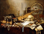名画絵画のプリント作品販売 ピーテル・クラース Pieter ClaeszのA Vanitas Still Life of Musical Instruments and Manuscripts, an Overturned Gilt Covered Goblet, a Jewellery Casket, a Candlestick, an Astrological Globe, a String of Pearls, Jewels, Shells, a Skull and Femur and an Hour-Glass on a Draped Table. 1653