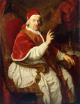 名画絵画のプリント作品販売 Pierre SubleyrasのPortrait of Pope Benedict XIV (1675-1758), seated three-quarter-length, his Right Arm Raised in Benediction.