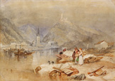 名画絵画のプリント作品販売 ジョゼフ・マロード・ウィリアム・ターナー Joseph Mallord William TurnerのBerncastel on the Moselle with the Ruins of Landshut. Circa 1834.