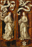 名画絵画のプリント作品販売 ヨース・ファン・クレーフェ Joos van CleveのTriptych of the Lamentation of Christ, 1524. Exterior side panels: Annunciation