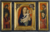 名画絵画のプリント作品販売 フーゴー・ファン・デル・グース Hugo van der GoesのTriptych. Donator with St. Wilhelm, Virgin with child, benefactress and John the Baptist.
