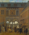 名画絵画のプリント作品販売 ヨブ・ベルクヘイデ Job Adriaenszoon(Adriaensz) BerckheydeのThe stock exchange in Amsterdam.