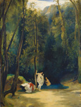 名画絵画のプリント作品販売 Carl BlechenのWomen Bathing in the Park of Terni.