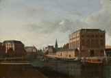 名画絵画のプリント作品販売 ヘリット・ベルクヘイデ Gerrit Adriaenszoon (Adriaensz) BerckheydeのView of the two synagogues, Amsterdam.