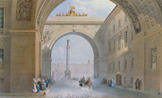 名画絵画のプリント作品販売 Vasily Semyonovich SadovnikovのThe archway of the Army headquarters in St. Peters