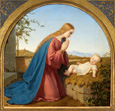 名画絵画のプリント作品販売 Ernst DegerのThe Virgin Praying in front of her Child. 1835