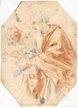 名画絵画のプリント作品販売 カルロ・ドルチ Carlo DolciのStudy of Evangelist Matthew with Angel. Around 1640