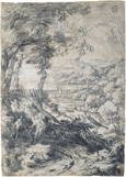 名画絵画のプリント作品販売 ガスパール・デュゲ Gaspard DughetのLandscape with Elijah and the Angel on Mount Horeb. Around 1660