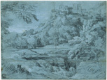 名画絵画のプリント作品販売 ガスパール・デュゲ Gaspard DughetのLandscape with town in the mountains and waterfall. Around 1665/68