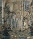 名画絵画のプリント作品販売 Carl BlechenのGothic church ruins. Around 1829-1831