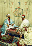 名画絵画のプリント作品販売 Giulio RosatiのArabs playing Backgammon in an Interior.