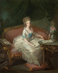 名画絵画のプリント作品販売 Louis-Charles Gautier d'AgotyのPortrait of Marie Antoinette sitting on a sofa.