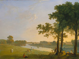 名画絵画のプリント作品販売 Richard WilsonのView across the Thames River near Kew Gardens onto Syon House. About 1760/1770