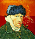 名画絵画のプリント作品販売 フィンセント・ファン・ゴッホ Vincent Willem van GoghのSelf-portrait with fur hat, bandaged ear and tobacco pipe