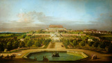 名画絵画のプリント作品販売 ベルナルド・ベッロット Bernardo Bellotto (Canaletto) and WorkshopのThe emperor's Lustschloss Schlosshof, garden side